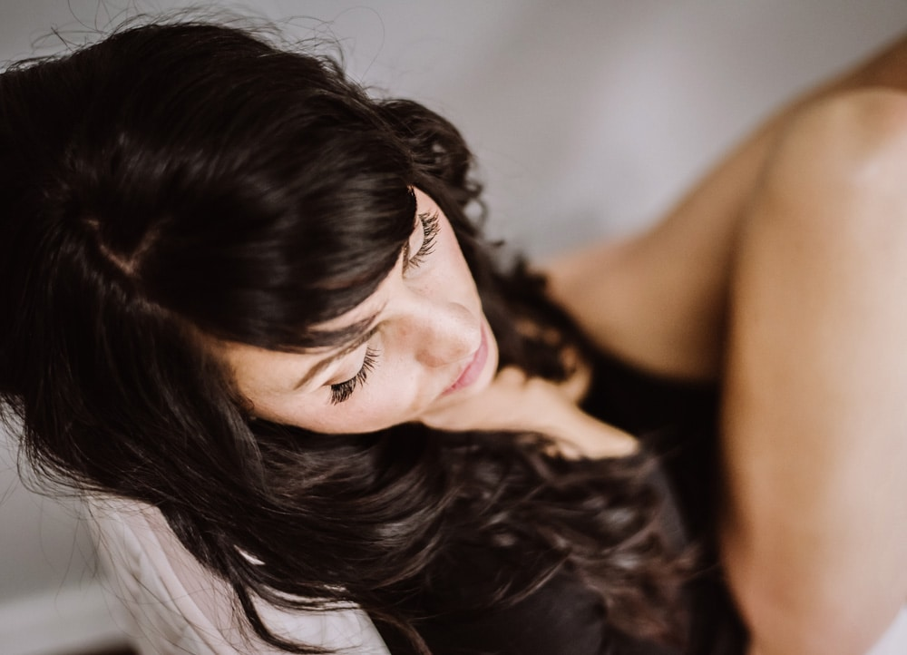 Kitsap WA Boudoir Photography, detailed hair and eye lash shot