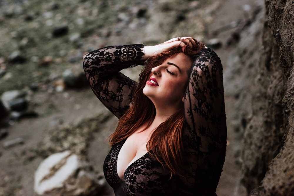 Kitsap WA Boudoir Photography, woman in black lace robe on beach
